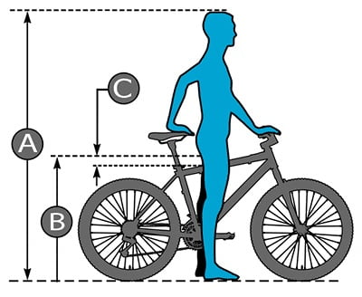 How are mountain bikes measured